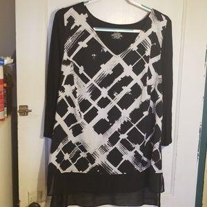 Lane Bryant black and white blouse